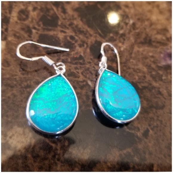 e48db01d9001f Australian Blue Triplet Opal Teardrop Earrings Boutique